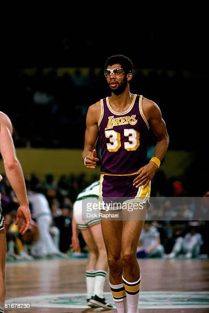 Kareem Abdul-Jabbar of the Los Angeles Lakers runs up court against the Boston Celtics during a game circa 1979 at the Boston Garden in Boston,...