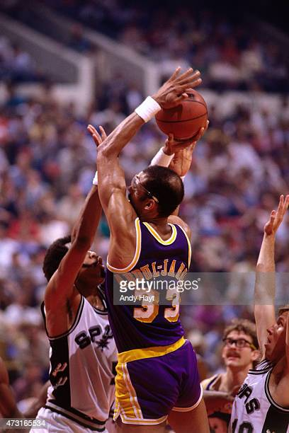 Kareem AbdulJabbar of the Los Angeles Lakers shoots against the San Antonio Spurs circa 1989 at HemisFair Arena in San Antonio TX NOTE TO USER User...