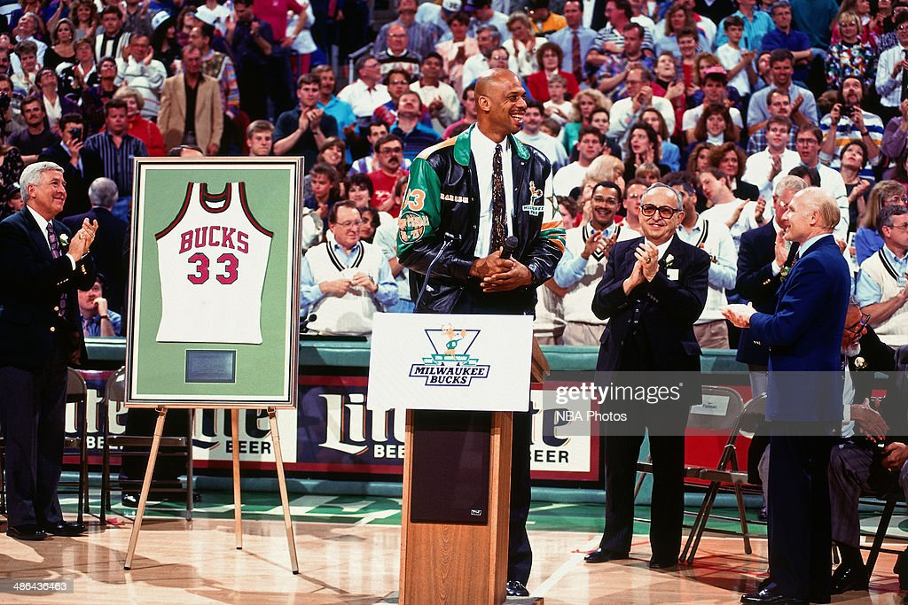 new style 46328 e4f48 Kareem Abdul-Jabbar of the Milwaukee Bucks has his jersey ...