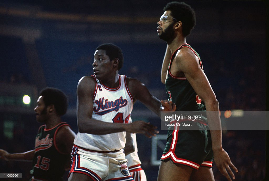 Kareem Abdul-Jabbar #33 of the Milwaukee Bucks is guarded close by Sam Lacey #44 of the Kansas City Kings during an NBA basketball game circa 1974 at Kemper Arena in Kansas City, Missouri. Abdul-Jabbar played for the Bucks from 1969 - 75.