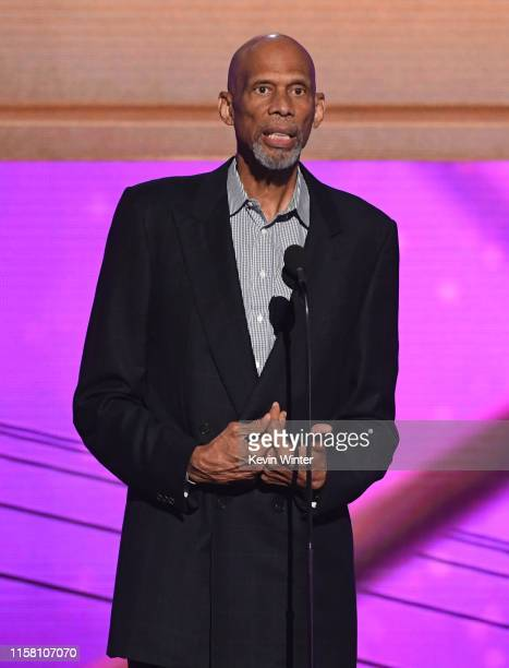 Kareem Abdul-Jabbar speaks onstage during the 2019 NBA Awards presented by Kia on TNT at Barker Hangar on June 24, 2019 in Santa Monica, California.