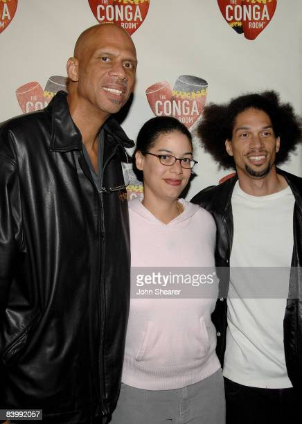 Kareem AbdulJabbar Sultana Jabbar and Kareem Abdul Jabbar Jr attends the grand opening of the Conga Room at LA Live on December 10 2008 in Los...