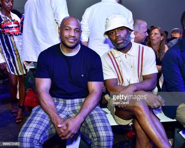 Kareem 'Biggs' Burke and Ouigi Theodore attend the Todd Snyder S/S 2019 Collection during NYFW Men's July 2018 at Industria Studios on July 11 2018...