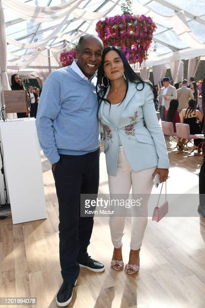 Kareem Burke and Roc Nation COO Desiree Perez attend 2020 Roc Nation THE BRUNCH on January 25 2020 in Los Angeles California