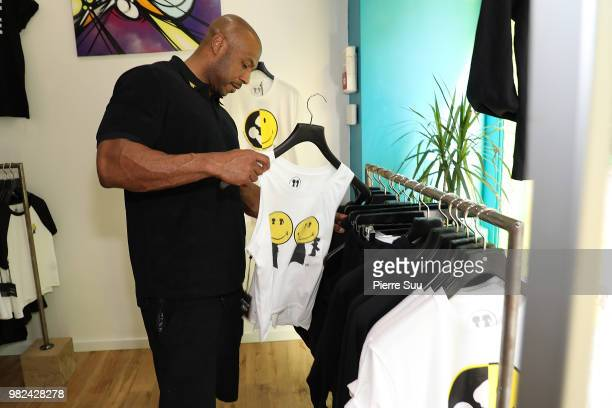 Kareem Burke attends the Boy Meets Girl Black Label X Smiley Original as part of Paris Fashion Week on June 23 2018 in Paris France