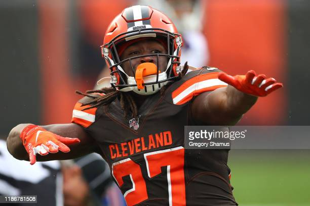 Kareem Hunt of the Cleveland Browns reacts to a first down run in the second half against the Buffalo Bills at FirstEnergy Stadium on November 10,...
