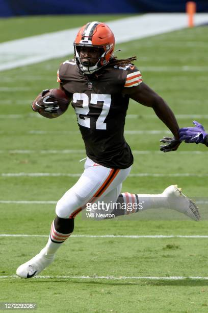 Kareem Hunt of the Cleveland Browns runs against the Baltimore Ravens during the first half at M&T Bank Stadium on September 13, 2020 in Baltimore,...