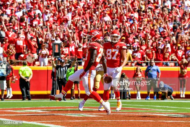 Patrick Mahomes of the Kansas City Chiefs is hit by Cassius Marsh of the San Francisco 49ers during the game at Arrowhead Stadium on September 23...