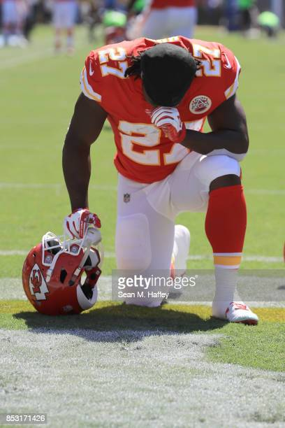 Kareem Hunt of the Kansas City Chiefs is seen taking a knee before the game against the Los Angeles Chargers at the StubHub Center on September 24...