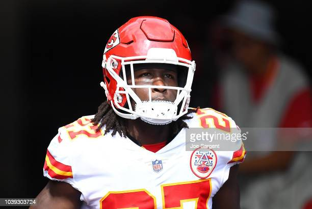 Kareem Hunt of the Kansas City Chiefs looks on during the game against the Pittsburgh Steelers at Heinz Field on September 16 2018 in Pittsburgh...