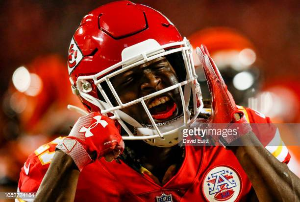 Kareem Hunt of the Kansas City Chiefs reacts after a run during the first quarter of the game against the Cincinnati Bengals at Arrowhead Stadium on...