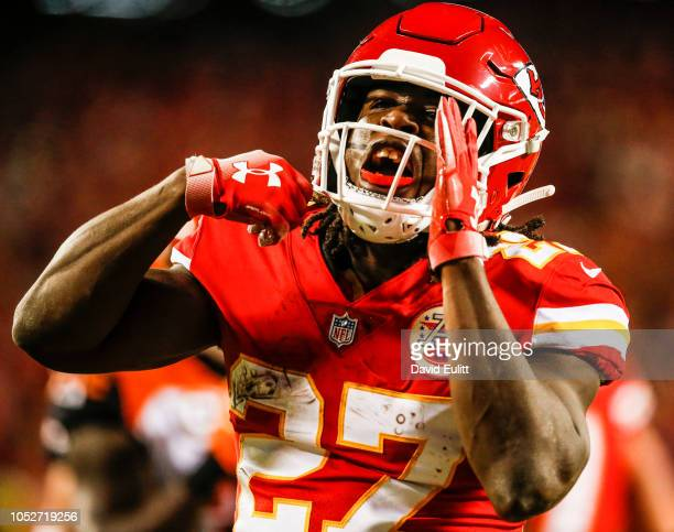 Kareem Hunt of the Kansas City Chiefs reacts after scoring the second touchdown of the game during the second quarter against the Cincinnati Bengals...