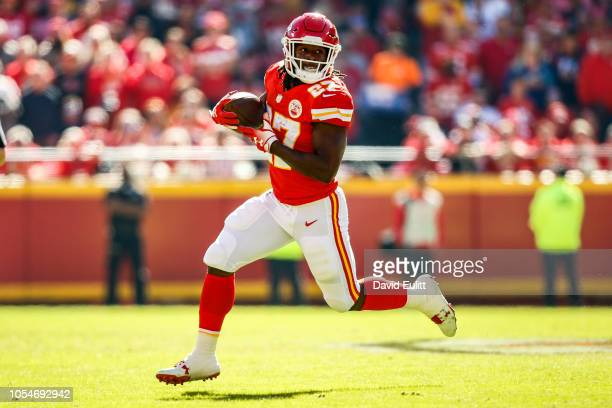 Kareem Hunt of the Kansas City Chiefs runs in the open field during the first half of the game against the Denver Broncos at Arrowhead Stadium on...