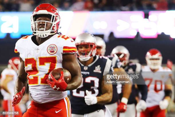 Kareem Hunt of the Kansas City Chiefs runs the ball during the second half against the New England Patriots at Gillette Stadium on September 7 2017...
