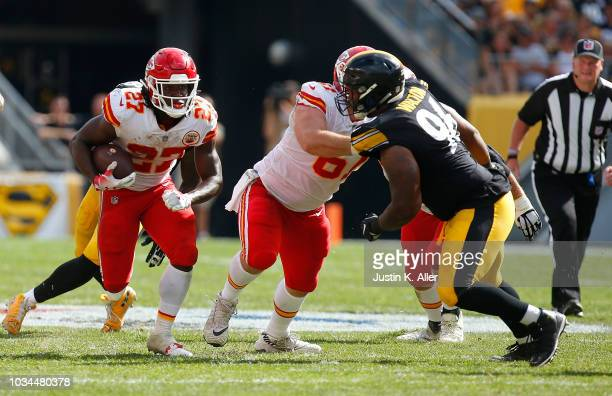 Kareem Hunt of the Kansas City Chiefs runs the ball in the second half during the game against the Pittsburgh Steelers at Heinz Field on September 16...