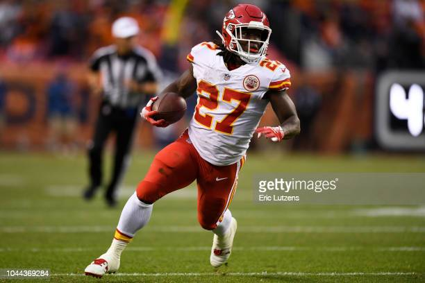 Kareem Hunt of the Kansas City Chiefs runs with the ball during the first quarter against the Denver Broncos The Denver Broncos hosted the Kansas...