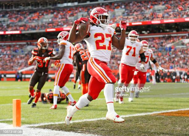 Kareem Hunt of the Kansas City Chiefs scores a touchdown during the third quarter against the Cleveland Browns at FirstEnergy Stadium on November 4...