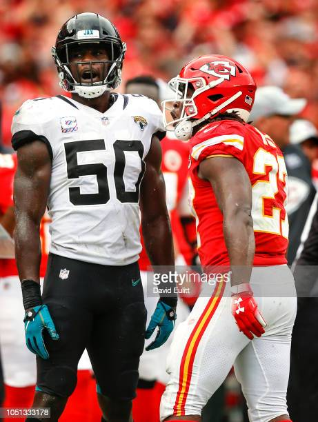 Kareem Hunt running back with the Kansas City Chiefs was penalized for a personal foul against linebacker Telvin Smith of the Jacksonville Jaguars at...