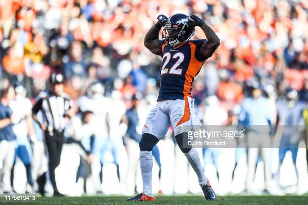 Kareem Jackson of the Denver Broncos celebrates after a defensive stop in the third quarter of a game against the Tennessee Titans at Empower Field...