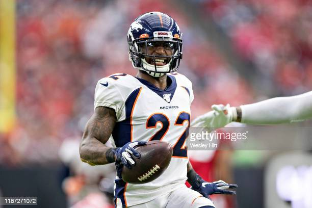 Kareem Jackson of the Denver Broncos celebrates after intercepting a pass during the second half of a game against the Houston Texans at NRG Stadium...