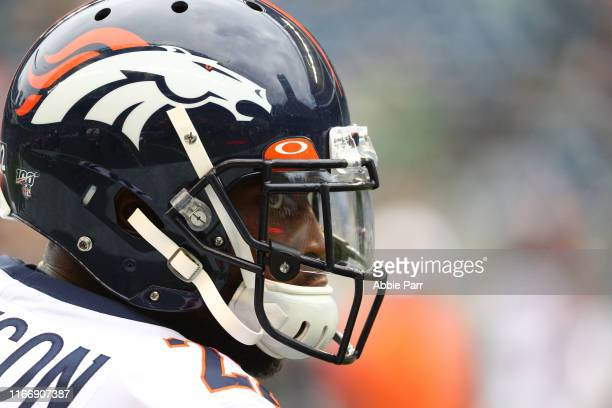 Kareem Jackson of the Denver Broncos looks on prior to taking on the Seattle Seahawks during their preseason game at CenturyLink Field on August 08,...