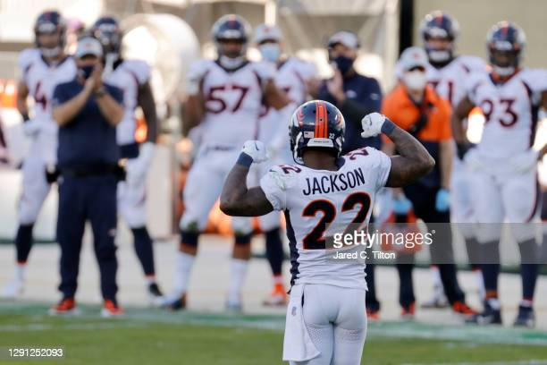 Kareem Jackson of the Denver Broncos reacts following a stop during the fourth quarter of their game against the Carolina Panthers at Bank of America...