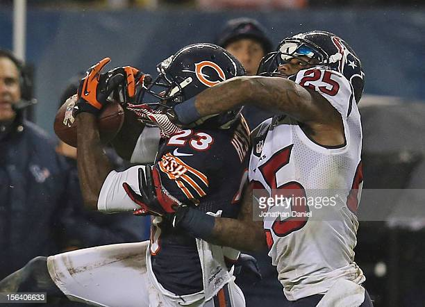Kareem Jackson of the Houston Texans breaks up a pass intended for Devin Hester of the Chicago Bears at Soldier Field on November 11, 2012 in...