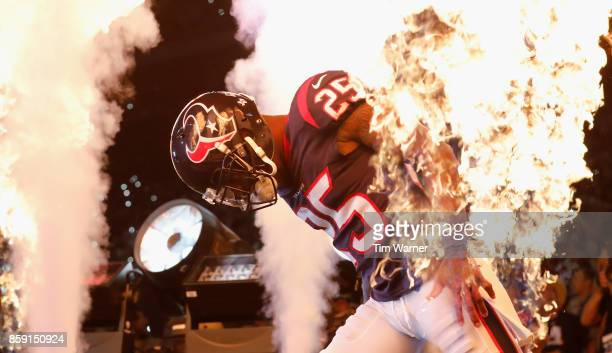 Kareem Jackson of the Houston Texans enters the field before the game against the Kansas City Chiefs at NRG Stadium on October 8, 2017 in Houston,...