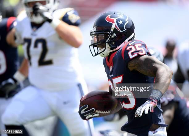 Kareem Jackson of the Houston Texans returns his interception during a preseason game against the Los Angeles Rams # of the Los Angeles Rams at Los...