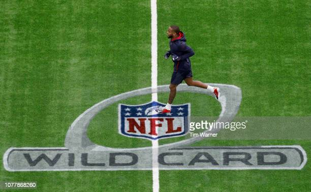 Kareem Jackson of the Houston Texans warms up before the game against the Indianapolis Colts during the Wild Card Round at NRG Stadium on January 5,...
