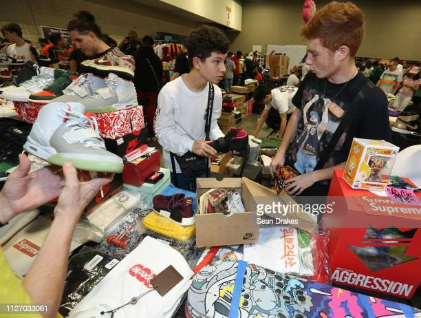 Kareem Kowatoli of Orlando and Tarek Kowataoli discuss purchasing a pair of sneakers for $1470 to resell during SneakerCon 2019 at Fort Lauderdale...