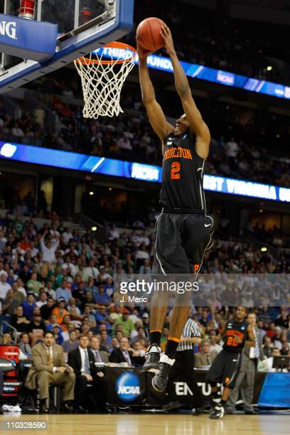 Kareem Maddox of the Princeton Tigers dunks in the first half against the Kentucky Wildcats during the second round of the 2011 NCAA men's basketball...