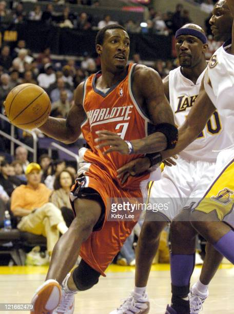 Kareem Rush of the Charlotte Bobcats drives to the basket during the NBA game between the Los Angeles Lakers and the Charlotte Bobcats at the Staples...