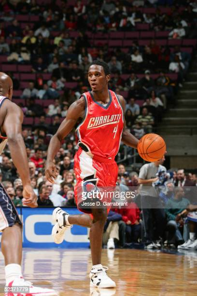 Kareem Rush of the Charlotte Bobcats moves the ball during the game against the New Jersey Nets on February 25 2005 at the Continental Airlines Arena...