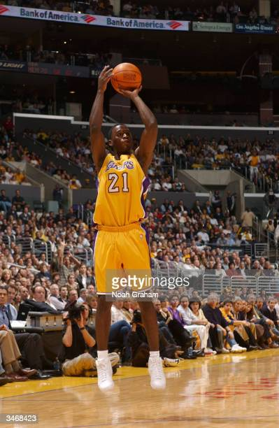 Kareem Rush of the Los Angeles Lakers shoots a jumper in Game two of the Western Conference Quarterfinals against the Houston Rockets during the 2004...