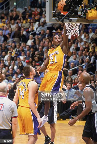 Kareem Rush of the Los Angeles Lakers shoots a layup during the NBA game against the San Antonio Spurs at Staples Center on October 29 2002 in Los...