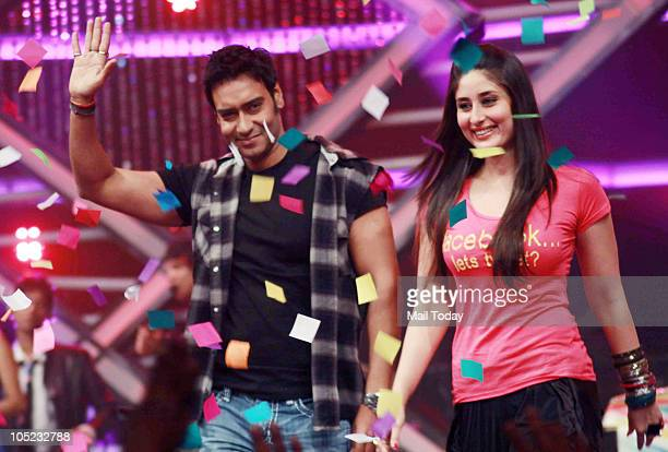 Kareena Kapoor and Ajay Devgan at a promotional event for the film Golmaal 3 in Mumbai on October 7 2010