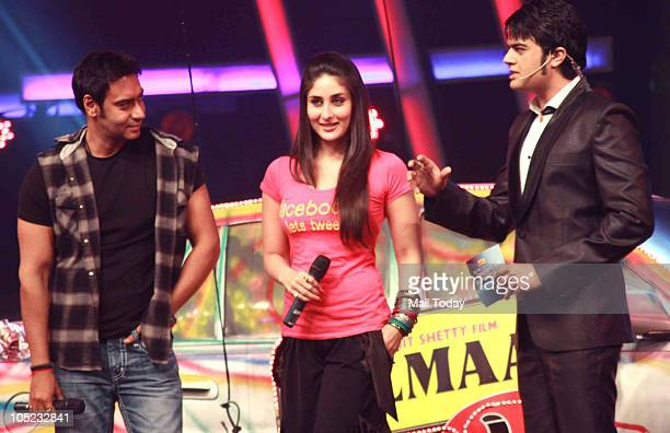 Kareena Kapoor and Ajay Devgan at a promotional event for the film Golmaal 3 in Mumbai on October 7, 2010.
