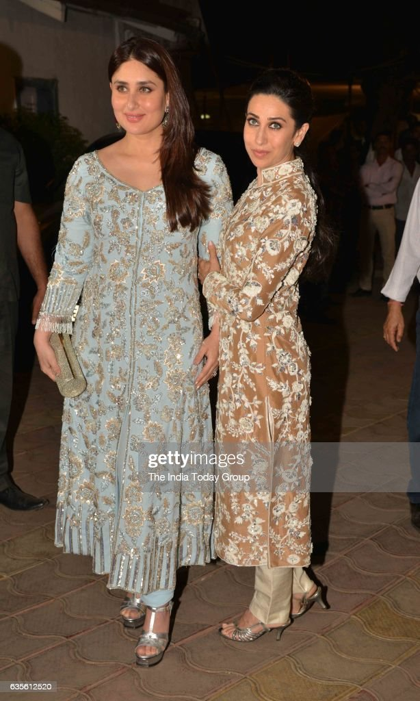 Kareena Kapoor and Karisma Kapoor at Randhir Kapoor`s 70th Birthday Bash in Mumbai