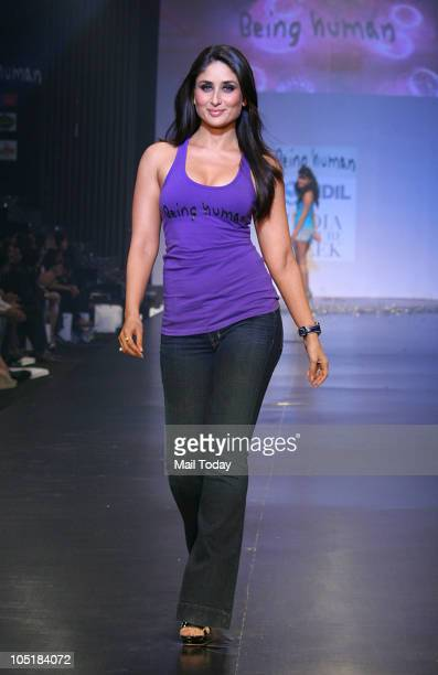Kareena Kapoor during the 'Being Human' foundation show at day four of the HDIL Couture week in Mumbai on October 9 2010