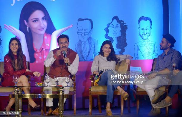 Kareena Kapoor Khan Saif Ali Khan Kunal Khemu and Soha Ali Khan at Soha Ali Khans book 'The Perils Of Being Moderately Famous' launch at Taj Lands...