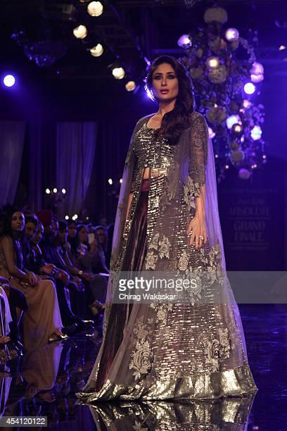 Kareena Kapoor showcases designs by Manish Malhotra during day 5 of Lakme Fashion Week Winter/Festive 2014 at The Palladium Hotel on August 24 2014...