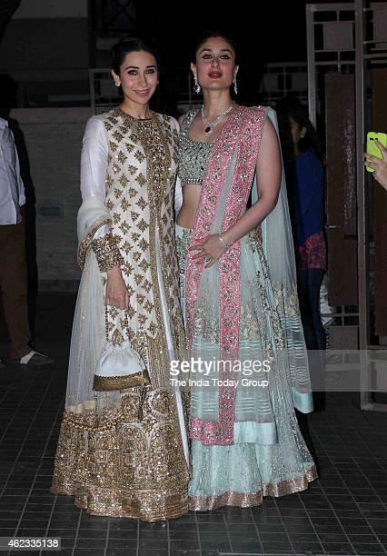 Kareena Kapoor with her sister Karishma Kapoor at Soha Ali Khan and Kunal Khemus wedding reception in Mumbai.