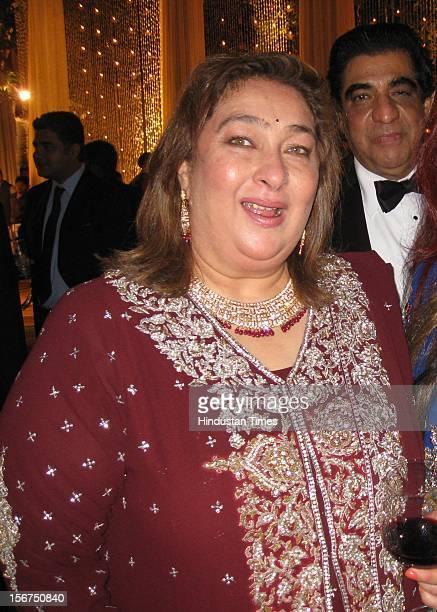 NEW DELHI INDIA OCTOBER 18 Kareena Kapoors aunty Reema Jain attending SaifKareena DawateWalima at 31 Aurangzeb Road 3 on October 18 2012 in New Delhi...