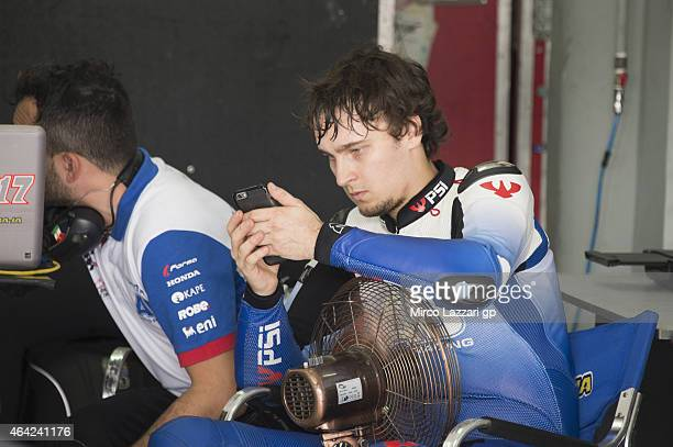 Karel Abraham of Czech Rep and AB Motoracing looks on in box during the MotoGP Tests in Sepang Day One at Sepang Circuit on February 23 2015 in Kuala...