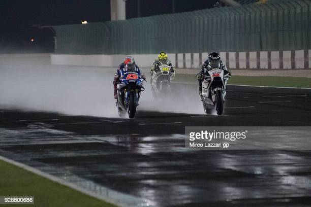 Karel Abraham of Czech Rep and Angel Nieto Team leads the field and test the wet track during the Moto GP Testing Qatar at Losail Circuit on March 3...