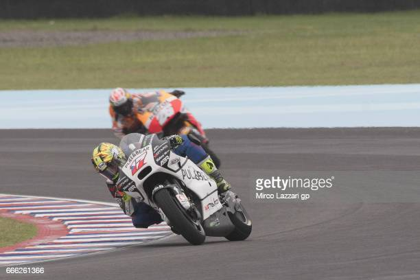 Karel Abraham of Czech Rep and PullBear Aspar Team leads the field during the MotoGp of Argentina Qualifying on April 8 2017 in Rio Hondo Argentina