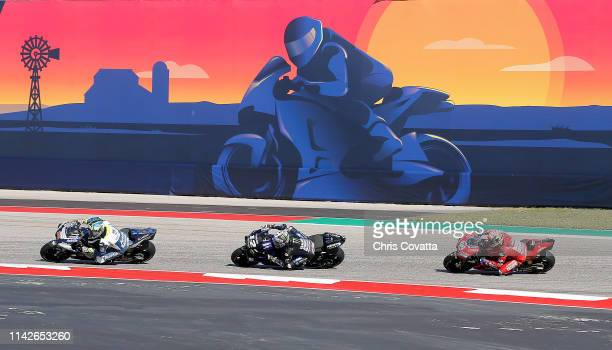 Karel Abraham of Czech Republic and Reale Avintia Racing Maverick Vinales of Spain and MotoGP and Andrea Dovizioso of Italy and Misson Winnow Ducati...