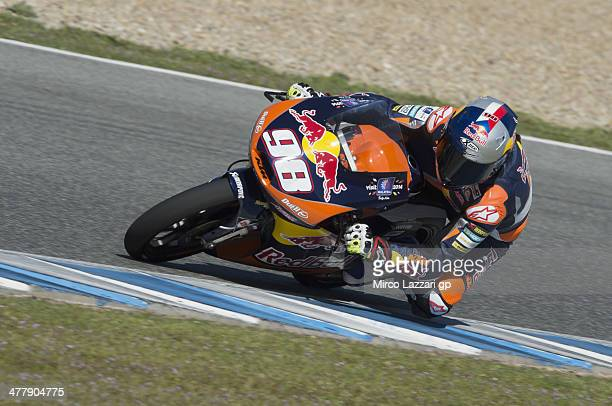 Karel Anika of Czech and Red Bull KTM Ajo rounds the bend during the Moto2 and Moto3 Tests in Jerez Day One at Circuito de Jerez on March 11 2014 in...