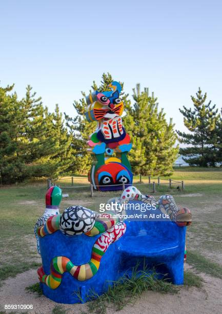 Karel appel and niki de saint phalle sculptures in Benesse house hotel garden Seto Inland Sea Naoshima Japan on August 24 2017 in Naoshima Japan
